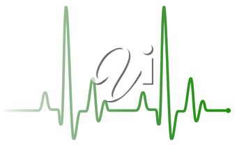 Green heart pulse graphic line on white, healthcare medical sign with heart cardiogram. Cardiology concept pulse rate diagram illustration