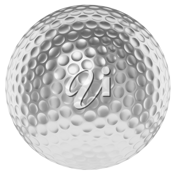 Golf sport competition winning and golf trophy concept: silver shiny golfball isolated on white background 3d illustration