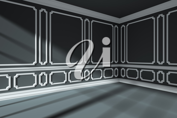 Empty black room interior with sunlight from window, with white decorative classic style molding frames on wall, with flat ceiling, floor and baseboard, 3d illustration