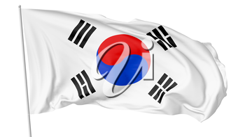 National flag of South Korea republic on flagpole flying and waving in the wind isolated on white background, 3d illustration