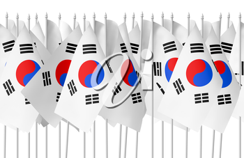 Many small flags of South Korea republic in row isolated on white background, seamless, 3d illustration