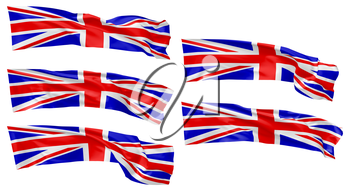 National flag of United Kingdom of Great Britain flying and waving in wind isolated on white collection, long flag, 3d illustration set