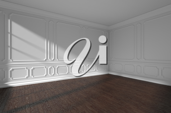 White empty room interior with sunlight from window, decorative classic style molding frames on walls, dark wooden parquet floor, 3d illustration.