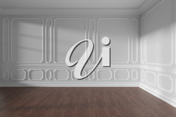 White empty room interior with sunlight from window, decorative classic style molding on wall, dark wooden parquet floor and white baseboard, 3d illustration