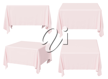 Pink square tablecloth set isolated on white, 3d illustration collection