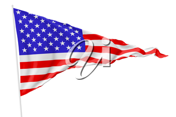 Triangular national flag of United States of America on flagpole flying in wind isolated on white, 3d illustration