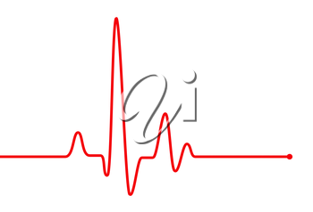 Red heart pulse graphic line on white, healthcare medical sign with heart cardiogram, cardiology concept pulse rate diagram illustration