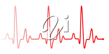 Red heart beat pulse graphic line on white. Healthcare medical sign with heart cardiogram, cardiology concept pulse rate diagram illustration