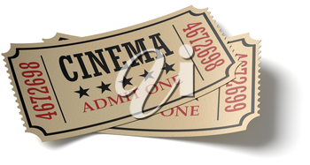 Vintage retro cinema creative concept: pair of retro vintage cinema admit one tickets made of yellow textured paper isolated on white background with shadow, closeup view, 3d illustration