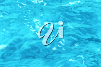Swimming pool water surface with sparkling light, rippled pattern background of clear blue swimming pool water, 3d illustration, closeup view