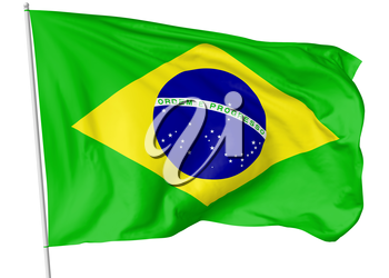 National flag of Federative Republic of Brazil with flagpole flying and waving in the wind isolated on white, 3d illustration