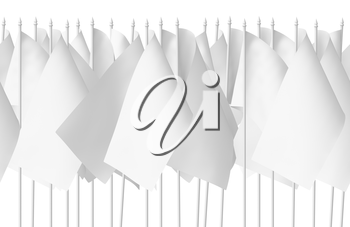 Many small white flags in row isolated on white background, seamless, 3d illustration