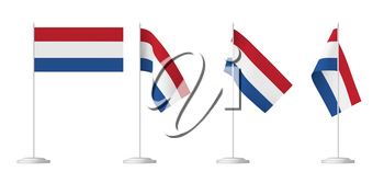 National flag of Netherlands, set of small table flag of Netherlands on stand isolated on white, 3d illustrations.