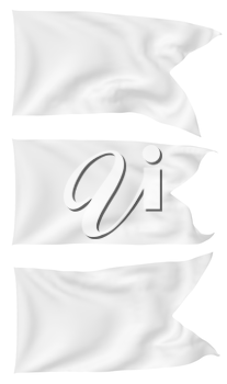 White flag with angle flying and waving in the wind isolated on white, white flag set 3D illustration.