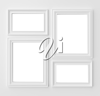 White blank frames for photo on white wall with shadows with copy-space, white colorless picture frames template set, photo frame mock-up 3D illustration