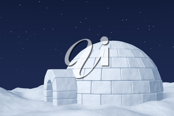 Winter north polar natural night snowy landscape: eskimo house igloo icehouse made with white snow at night on surface of polar white snow field under cold night north sky with bright stars.