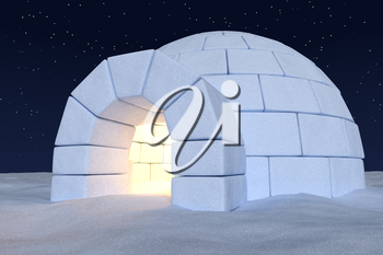 Winter north polar snowy landscape: closeup view of eskimo house igloo icehouse with warm light inside made with snow at night on surface of snow field under cold night north sky with bright stars