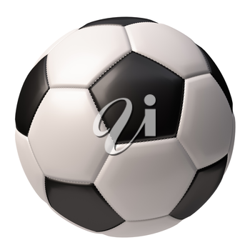 Realistic soccer ball with black and white elements [isolated] on white background. Football sport game ball 3D illustration