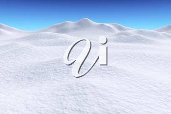 White snow hills and smooth snow surface under bright clear winter blue sky, winter snow background, 3d illustration