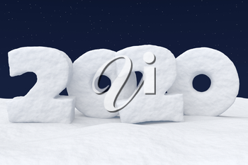 2020 Happy New Year sign text written with numbers made of snow on snowy field at night under cold north clear night sky with bright stars, winter snow 3d illustration landscape
