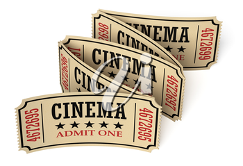 Five retro vintage cinema tickets made of yellow textured paper on white surface with shadows, closeup view, 3d illustration. Vintage retro cinema creative concept.