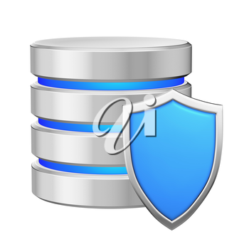 Database with blue metal shield protected from unauthorized access, data protection concept, 3d illustration icon isolated on white background for Data Protection Day