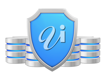 Data bases group behind metal blue shield protected from unauthorized access, data protection concept, 3d illustration icon isolated on white background for Data Protection Day