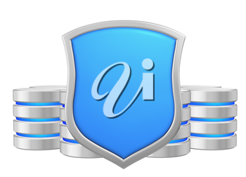 Databases group behind metal blue shield protected from unauthorized access, data protection concept, 3d illustration icon isolated on white background for Data Protection Day.