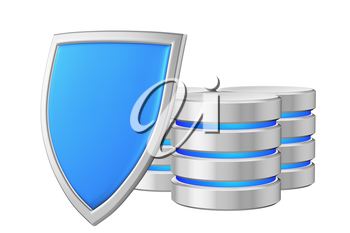 Databases group behind metal blue shield on left protected from unauthorized access, data protection concept, 3d illustration icon isolated on white background for Data Protection Day