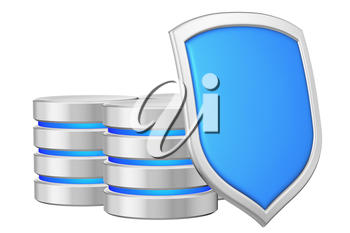 Databases group behind metal blue shield on right protected from unauthorized access, data privacy concept, 3d illustration icon isolated on white background for Data Protection Day