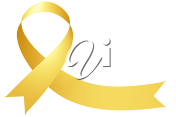 Yellow ribbon International Childhood Cancer Awareness Day symbol isolated on white, awareness campaign in february month, design element 3D illustration