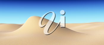 Smooth sand hill with waves under clear blue sky under bright summer sunlight, natural 3D illustration.