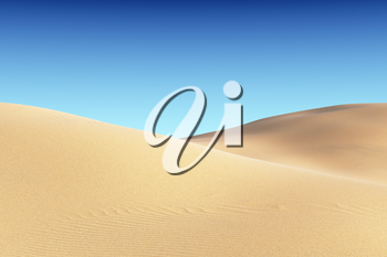 Smooth sand dunes with waves under bright summer sunlight under clear blue sky, natural 3D illustration