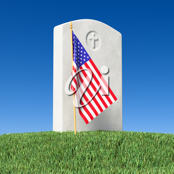 Small American flag and gray blank gravestone on green grass field in memorial day under sun light under clear blue sky, Memorial Day concept 3D illustration