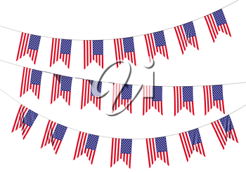 Strings of American flags decorative hanging bunting, bright USA patriotic flags garlands. Independence day, 4th of July holidays decoration 3D illustration