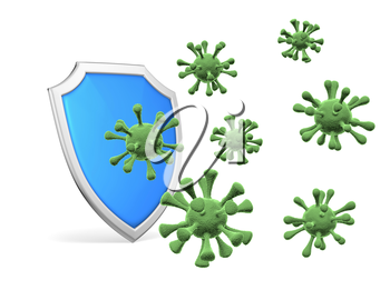 Shield protect form viruses and bacterias isolated on white background 3D illustration, coronavirus COVID-19 protection, medical health, immune system and health protection concept