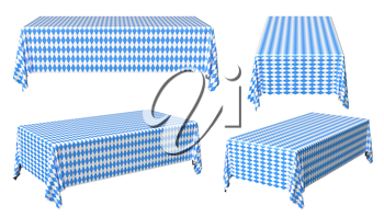 Oktoberfest rectangular tablecloth with blue-white checkered pattern set isolated on white, traditional Oktoberfest festival decorations, 3d illustration collection