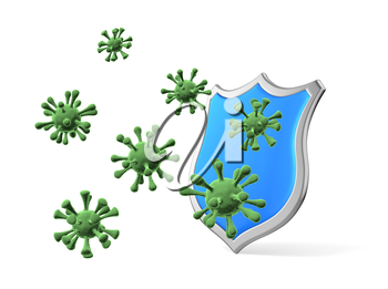 Shield protect form viruses and bacterias isolated  3D illustration, coronavirus protection, medical health, immune system and health protection concept