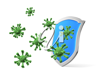 Shield protect form viruses and bacteria cells isolated  3D illustration, COVID-19 coronavirus protection, medical health, immune system and health protection concept