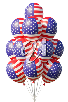 United States of America patriotic balloons painted with USA flag with ribbons isolated on white. 4th of July USA Independence Day celebration decoration, 3D illustration.