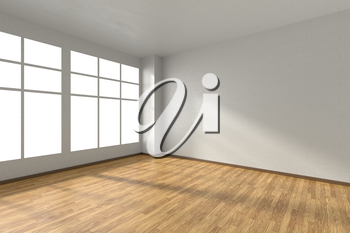 Empty room with wooden hardwood parquet floor, big window, walls with white textured wallpaper and sunlight from window, perspective view, 3d illustration