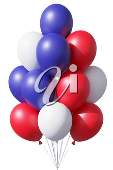 4th of July patriotic balloons in traditional colors, blue, red and white, with ribbons isolated on white. United States of America Independence Day celebration holiday decoration, 3D illustration