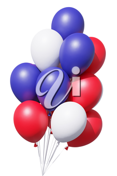 Patriotic Independence Day celebration balloons in traditional colors, blue, red and white, with ribbons isolated on white. 4th of July Independence Day celebration holiday decoration, 3D illustration