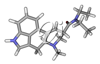 Optimized molecular structure of LSD on a white background