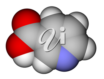 Optimized molecular structure of niacin (vitamin B3 or PP) on a white background