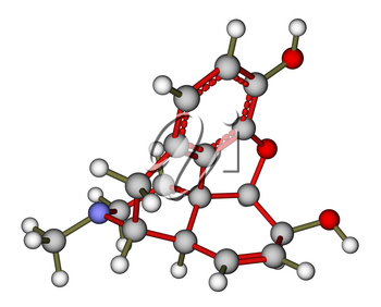 Optimized molecular structure of morphine on a white background