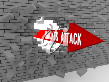 Arrow with words Hacker Attack breaking brick wall. Concept 3D illustration.