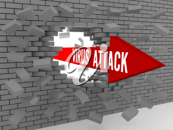Arrow with words Virus Attack breaking brick wall. Concept 3D illustration.