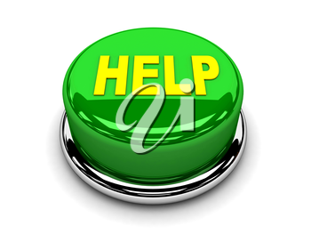 3d button green help support protection push
