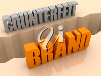Two words COUNTERFEIT and BRAND split on sides, separation crack. Concept 3D illustration.